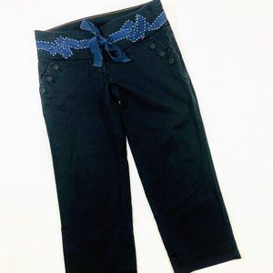 Anthro Navy Ribbon Stretchy Cotton Pants